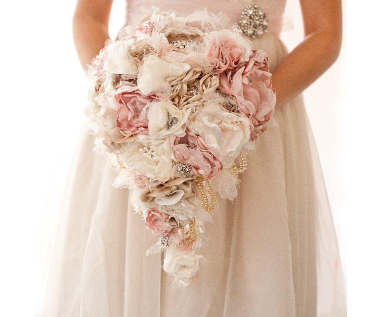 Fabric Flower Custom Wedding Drop Bouquet With Rhinestone And