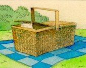RESERVE for Colrol -- Original ACEO Painting -- Picnic basket