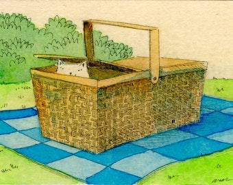 Original ACEO Painting -- Picnic basket
