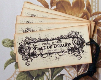 Halloween Tags Apothecary Scale of Dragon Vintage Style Party Favor Gift Treat Bag Tags Handmade TH002