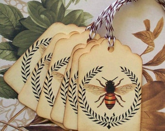 Wedding Tags Bee Wreath Vintage Style Gift Tags Wish Tree Party Favor Treat Bag Price Tag T040