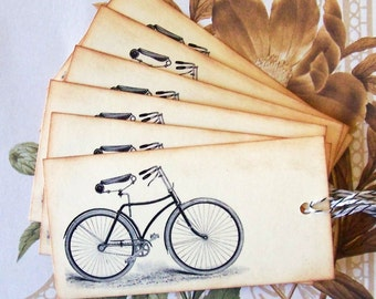 Tags Bike Bicycle Vintage Style Gift Tags Party Favors Weddings Treat Bag Tags T058