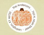 Return address labels, stickers, tags, envelope seals, round-- Joyful pumpkin
