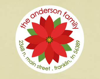 Christmas address labels, stickers, tags, envelope seals, round-- Poinsettia