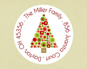 Christmas address labels, stickers, tags, envelope seals, round-- Xmas tree circles
