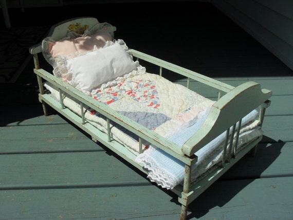 Large Wooden Doll Bed with Three Bears Stencil - Original Chippy Paint