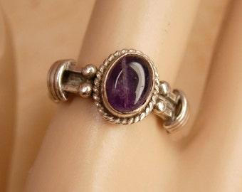 Vintage Amethyst Gothic Sterling ring Genuine gemstone