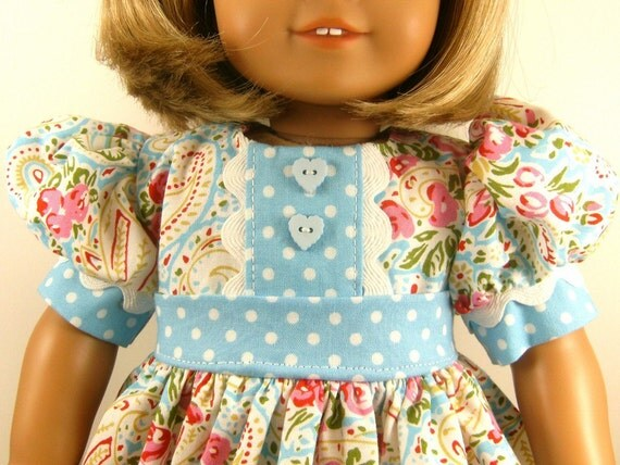 American Girl Doll Clothes 18 Inch Dolls Paisley and Polka Dots in Blue Short Sleeved Dress One Of A Kind