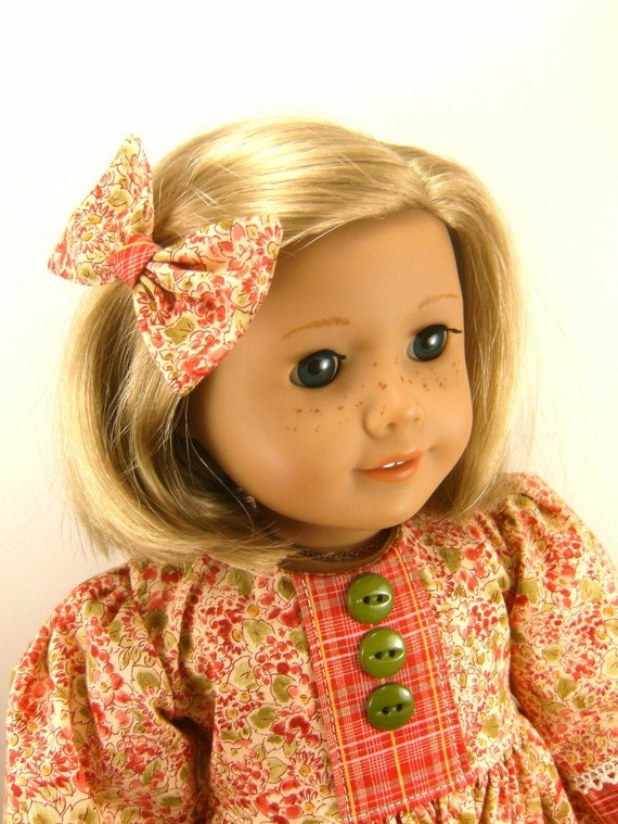 Fits American Girl Doll 18 Inch Dolls Long Sleeved Dress in Fall Colors and Matching Hair Bow