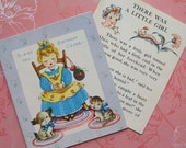 Unused Vintage There Was A Little Girl Birthday Card with Story Insert