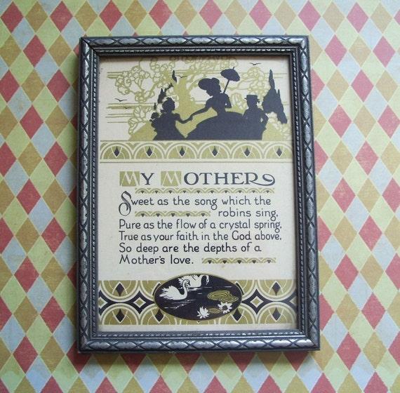 Vintage Mother Framed Motto Print Sweet Song