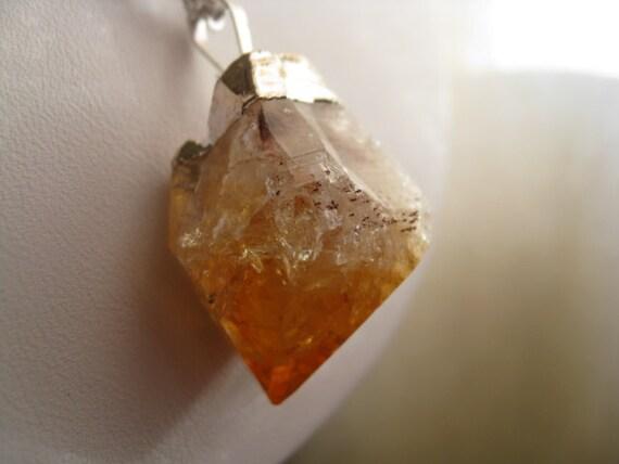 rough citrine necklace. silver necklace. raw gemstone necklace. November birthstone. unisex necklace.