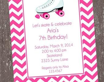 Pink Chevron Roller Skate Birthday Invitations - 1.00 each with envelope