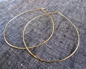 "Large 3"" Thin Hammered Simple Oval Shaped 14k Gold Filled Hoops. . . Free Shipping.... BadkittyHawaii"