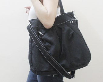 New Year SALE - 40% OFF Hoodie Max in Black / Shoulder Bag / Tote / Messenger / Purse / Handbag / Diaper Bag / Large Bag / Women / For her