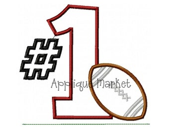 Machine Embroidery Design Applique 1 Football and Ric Rac Grass INSTANT DOWNLOAD