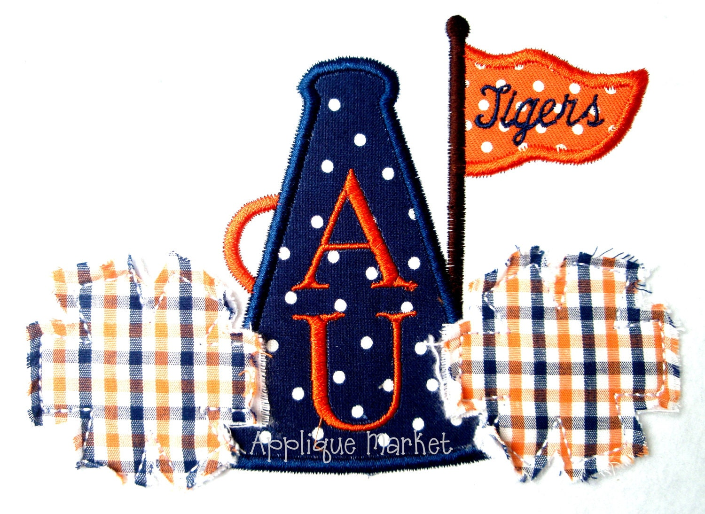 Machine embroidery design applique cheer megaphone raggy pom