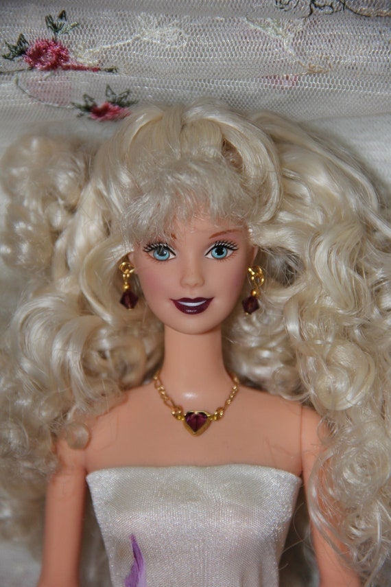 Vintage Ameythst Heart and Gold Doll Jewelry Necklace Set for Barbie Silkstone Fashion Royalty