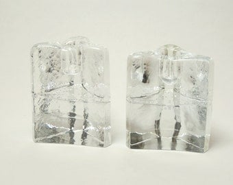 Blenko Clear Glass Candle Holders Mod Ice Cube Design 1980's