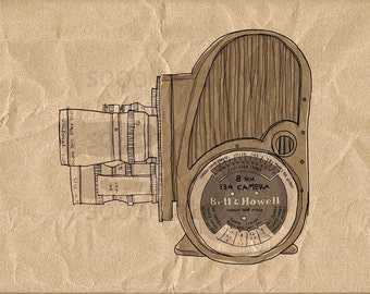 8mm Movie Camera-Digital Image Sheet -SooArt Original Illustrate Drawing  A4 Print on Pillows, t-shirts, scrapbook, lampshades  ETC.