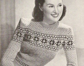 1940's Two Colour Fair Isle Jumper Vintage Knitting Pattern 457