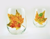 Fall painted glasses - Set of 2 hand painted stemless wine glasses - Autumn Leaves collection