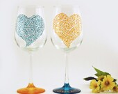Hand painted wine glasses - Turquoise and saffron yellow personalized tall wine glasses -Sweetheart collection -  Set of 2