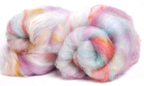 Hand carded batts -Polwarth, Merino,Hand Dyed Leicester Long Wool, Silk, Bamboo,Hand dyed ultra violet, fine Firestar,Tussah Silk, 100g