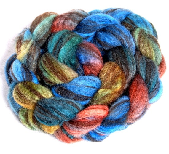 HUMBUG BFL Hand painted - 3 times blended 106g -  roving, combed top fibre fiber