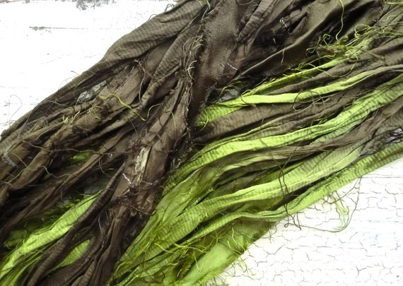 rainforest recycled silk sari ribbon