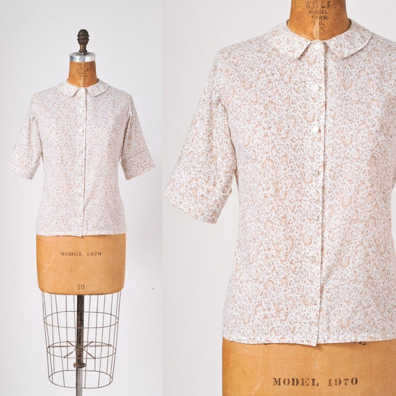 Little Brown Hen Vintage Blouse - 1960s Novelty Print Country Back To School