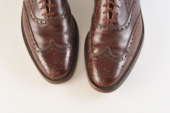 1950's Men's Wingtip Shoes Brown Nettleton Vintage Oxfords