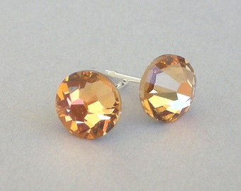 Light Colorado Topaz stud earrings, Swarovski crystal light brown posts, 7mm