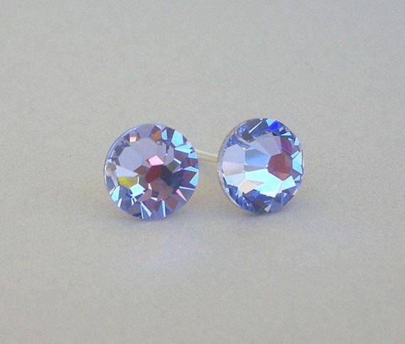 Provence Lavender crystal studs, light purple Swarovski crystal post earrings