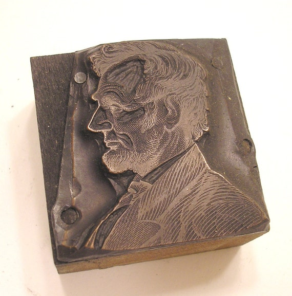 Abraham Lincoln Antique Letterpress Printing Block copper on wood