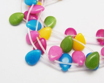 8pc- Mixed Color Jade Candy Beads, Smooth Drop, 13x18x6mm