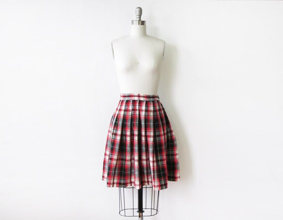 1950s plaid skirt / vintage 1950s school girl pleated skirt  / mini wool skirt / 24W xs