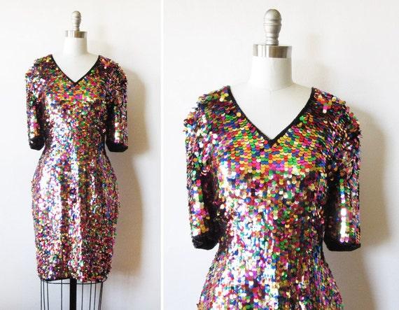 Rainbow Sequin Dress Vintage 1980s Rainbow By