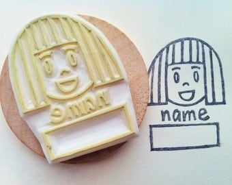 girl name label stamp. back to school stamp. child hand carved stamp. teacher's stamp. write your name. back to school. handmade stationery