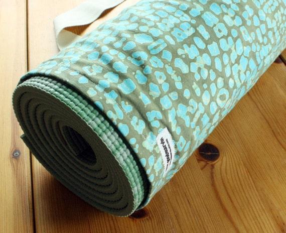 Clearance SALE - 30% Off - Handmade Yoga Bag Unisex Yoga Bag Mens Yoga Bag in Blue and Green Batik READY to SHIP