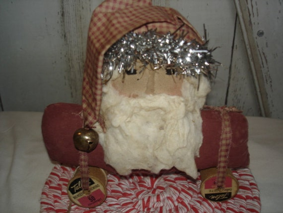 Primitive Christmas Santa Pull Toy