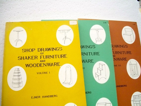 Vintage Books Set Of Three  /Shop Drawings Of Shaker Furniture And  Woodenware Volumes 1 2 & 3 By Ejner Handberg