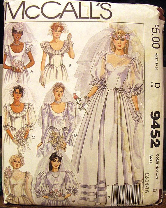 Wedding Gown Pattern Sewing Misses Size 12 14 16 McCall's 9452 Bridal Bridesmaid Uncut