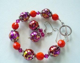Fushia and Tangerine Orange Glass Lampwork and Swarovski Beaded Bracelet and Earring Set