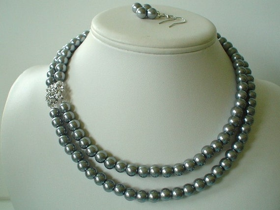 Two Strand Silver Pearl with Square Rhinestone Pendant Beaded Necklace and Earring Set    Great Brides or Bridesmaid Gifts