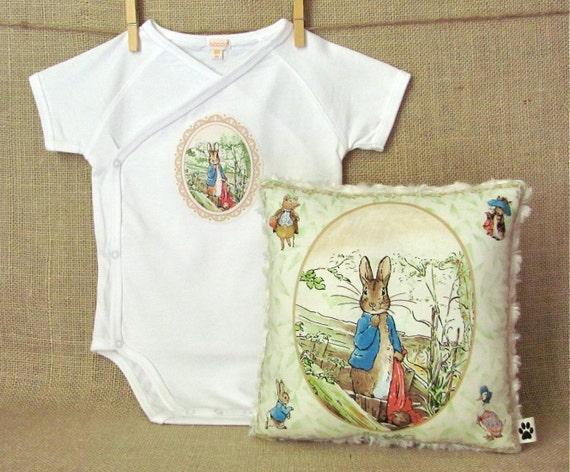 Peter Rabbit - Little Lovey Pillow and Appliqued Onesie - Beatrix Potter - Baby Shower Gift Set