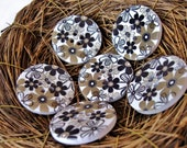 White and Flower Pattern Wooden Sewing Button 30mm - set of 6 wood buttons  (BB105G)