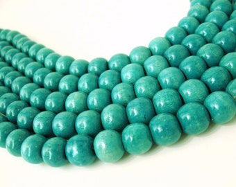Turquoise Wood round beads - Green teal Wooden Beads 12x11mm - 30pcs  #PB225A