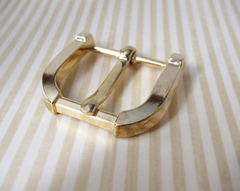 Vintage Gold Metal Belt D Buckle OOAK
