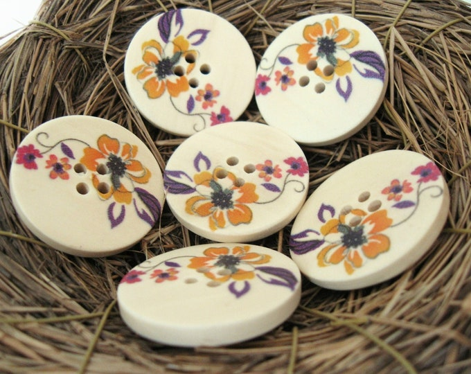 Featured listing image: Flower Pattern Wooden Sewing Buttons 30mm - set of 6 natural wood button  (BB105A)